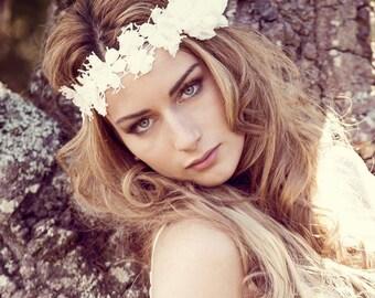 Bohemian bridal headband, bohemian lace headpiece, bohemian lace & silk flower hairpiece