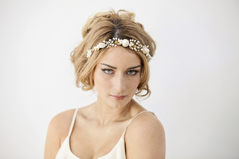 Mermaid wedding headband beach bride hairpiece seashell for Seashells for hair