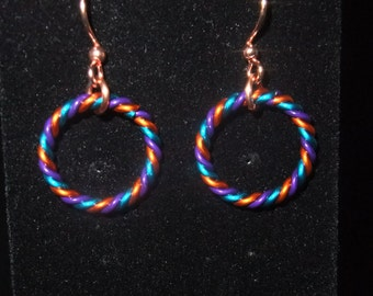 Twisted Color Ring Earrings