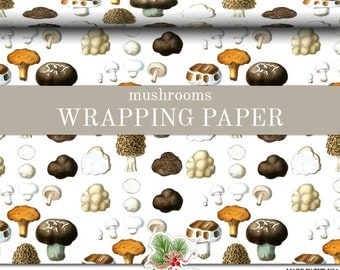 Mushrooms Wrapping Paper | Fungus Gift Wrap Matte Finish 9 ft. or 18 ft. Rolls Great For The Mycologist In Your Family