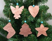 Christmas Decorations - 5 Handmade Rustic Christmas Ornaments - Copper - Christmas Gift - Christmas Tree - Christmas Star - Cristmas Angel