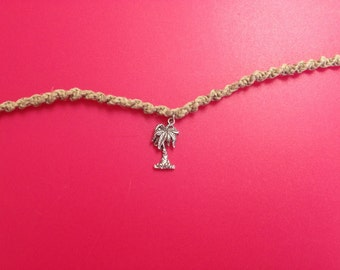 Woven Tan Hemp Anklet with Silver Palm Tree Charm