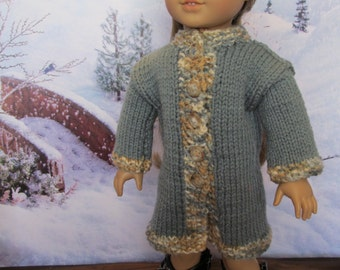 Gray Coat for 18''Dolls, Hand Knit , Gray with Oatmeal Colored Trim, Winterwear, Outdoor Wear, Cute Winter 18'' Doll Coat, Fun Gray Coat