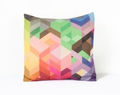 Bright Geometric Pillow Cover in Yellow, Pink, Red, Purple, Green, Blue, Brown / Geometric Cushion Cover / Colorful Chevron Pillow / 45x45cm