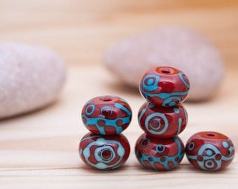Red Brownish Ethnic Beads - Blue Turquoise Pattern - Bead Set of 6 - Handmade Lampwork