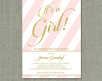 """Printable Pink & Gold Glitter Baby Shower Invitation Card 