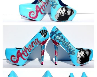 Custom Heels Hand Painted and Emblemished with Swarovski Crystals