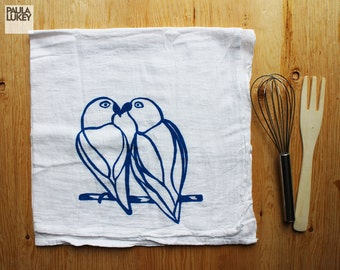 Love Birds Silkscreened Tea Towel Cotton Flour Sack  - Art Kitchen - 28x29 inches