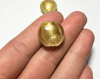 Puffy Round Venetian Murano Glass Gold Foil Beads 20mm 2pcs
