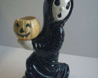 Halloween decorations black Scary ghost boy holding pumpkin candle cup Retro gifts for her candle cup outdoor Halloween decorations for her