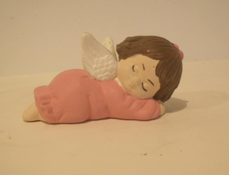 Ceramic Angel, Cherub, Christmas Angel, Pink Angel on tummy