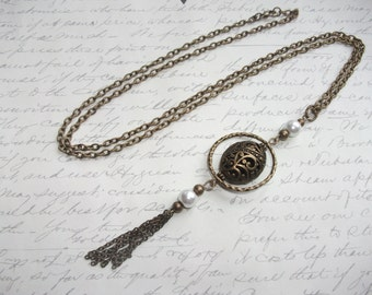 Antique brass long necklace