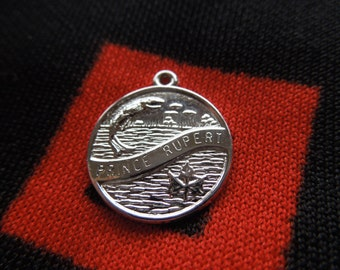 Sterling Prince Rupert Charm Prince Rupert British Columbia Canada Disk Charm Sterling Silver Charm for Bracelet from Charmhuntress 01217