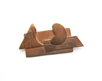 Vintage Modernist Copper Pin