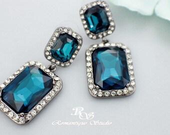 Sapphire blue bridal earrings, blue rhinestone earrings, something blue wedding earrings, blue crystal earrings, dangle earring on post 1222