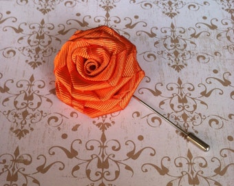 Men's Rose Flower Lapel Pin Wedding Boutonniere Corsage Orange Tangerine
