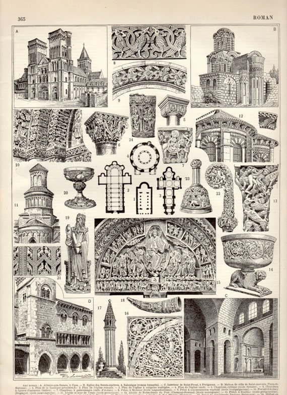 1897 roman architecture and art antique print vintage for Printing architectural drawings