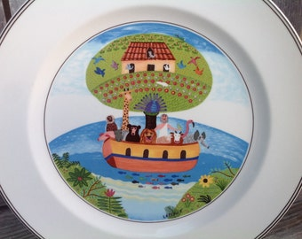 "Villeroy & Boch Naïf Dinner Plate, 10.5"" across Noah's Ark and Animals Made in Luxembourg Germany"
