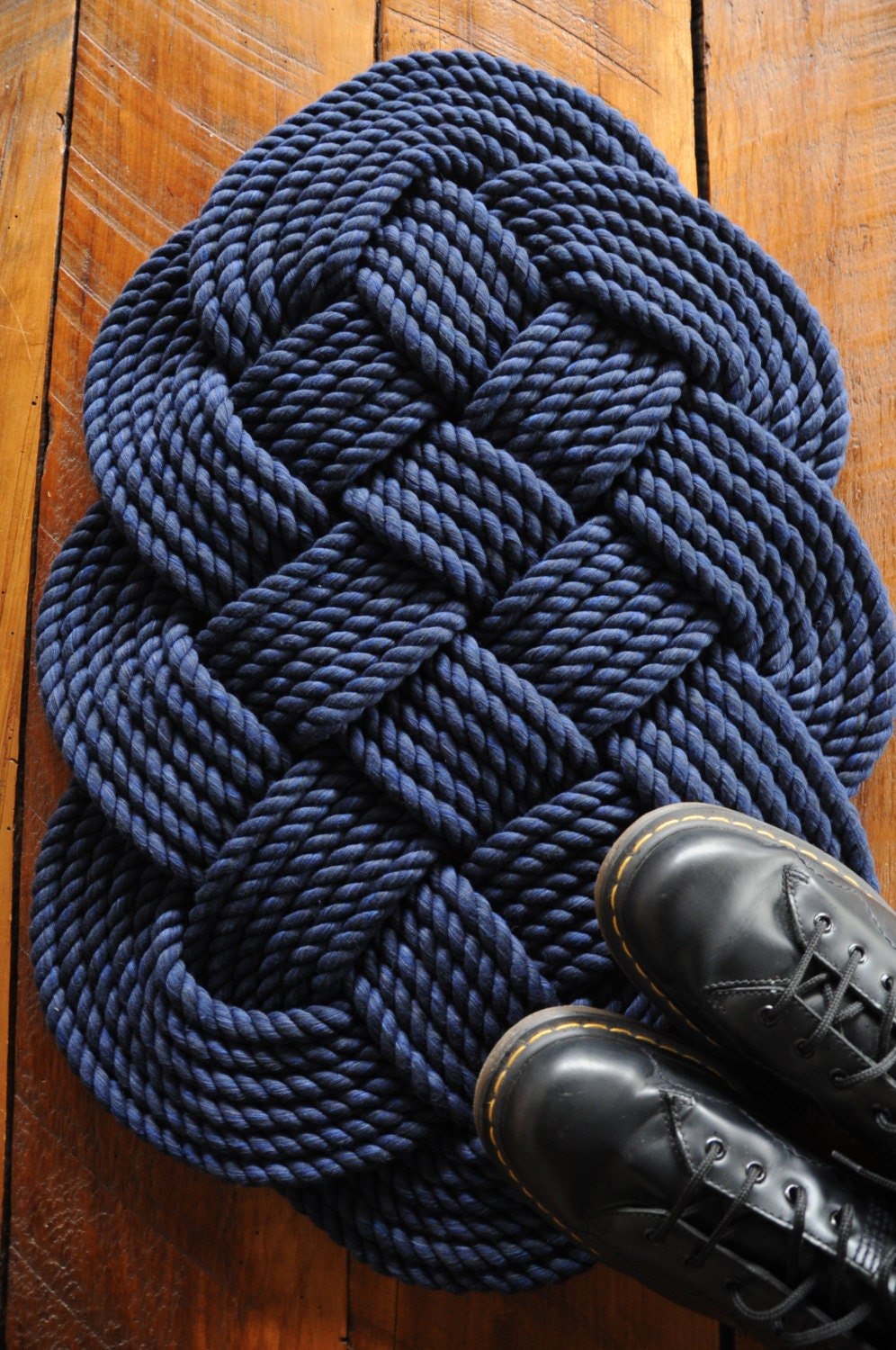Navy Bath Mat Rope Rug Navy Cotton Rope Rug Nautical By Oyknot