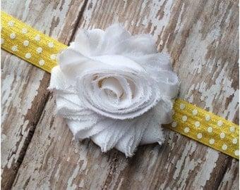 SALE Yellow & White Polkadot Shabby Chic Flower Headband, Baby Headband, Toddler Headband, Girls, Adult Headband, Baby Shower Gift, Hair Bow
