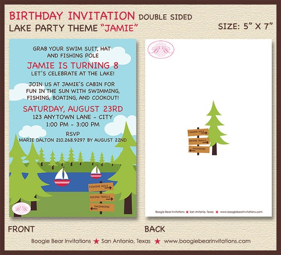 Lake Summer Birthday Party Invitation BBQ Cookout Fishing
