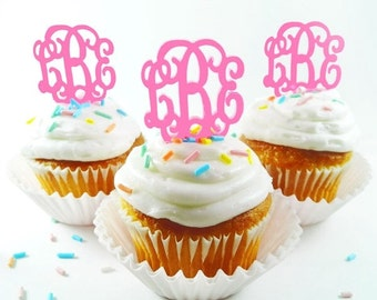 Monogram Cupcake Toppers - SET OF 6
