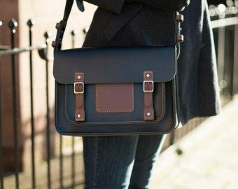 Urbane All Day Real Leather Satchel / Messenger Bag; Designed & Handmade in the UK - Black