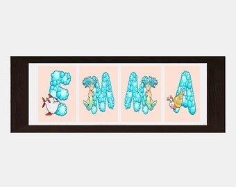 Sea Life Wall Decor, Sea Life Wall Art, Personalized Name For Girls, Girls