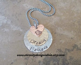 Personalized Handatmped Dream Believe Necklace/Inspirational Necklace