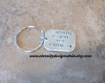 Personalized Couples Keychain, I Promise To Love You Forever, Infinity Keychain