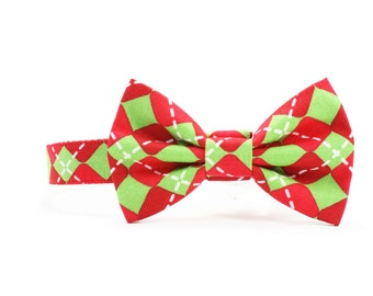 Christmas Dog Bow Tie Collar Diamond Checkered Red Green Dog Bowtie Holiday Dog Collar