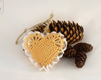 Christmas tree decoration crochet Home rustic Christmas toy Lace Heart yellow