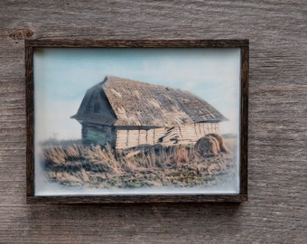 Barn and Bale. Alberta, Canada. Original encaustic wall art. Framed. Encaustic Canadian farmstead Photography. 5x7