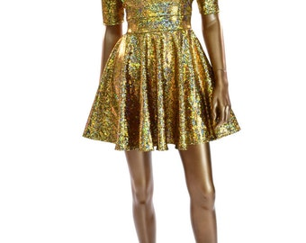 Gold on Black Shattered Glass Holographic Half Sleeve Darted Bodice Metallic Skater Fit and Flare Party Dress - 150005