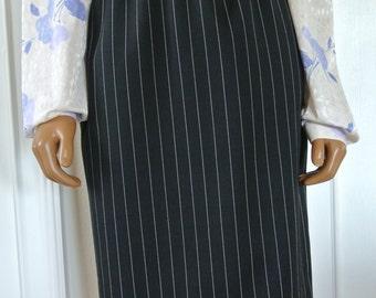 Emanuel Ungaro Parallele Paris Wool Pencil Skirt Pin Stripes Size 12