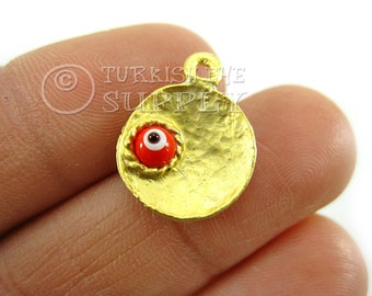 4 pc Dished Gold Disc Charms with Glass Evil Eye, Matte 22K Gold Plated Turkish Jewelry, Turkish Findings, Good Luck Charms
