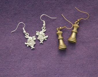 Alice in wonderland inspired earring and pendants