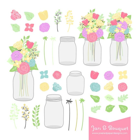 Mason Jar Bouquet - Digital Graphics for Wedding Invites, Scrapbooking, Photography, DIY | Commercial License Available