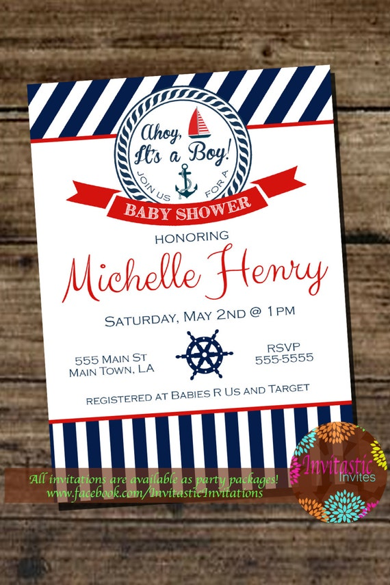baby shower invitation sail boat anchor nautical themed baby shower