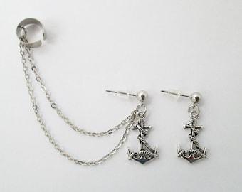 Anchor ear cuff wrap with chain