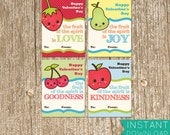 DIY Printable Class Valentine Cards | School Cards | Christian Valentines | Galatians verse | Fruit Of The Spirit | PDF Instant Download