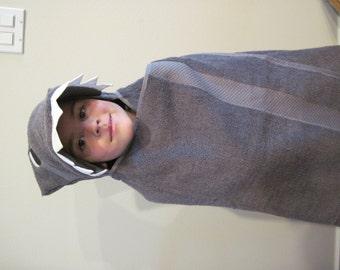 Shark Hooded Towel - Gray shark towel