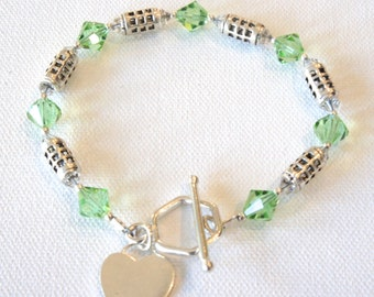 Jealous Heart,Swarovski Crystal,Sterling Silver,Charm,Toggle Closure,Heart,Green,Love, Bracelet, Crystals,Gift for Her,Gift Ideas,Romantic