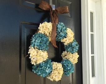 spring door wreath, blue hydrangea, wreath for spring, door wreath, front door wreath,