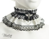 10% OFF SALE, White and black collar with silver angel wings, Gothic Lolita accessories, Victorian Choker necklace, Fantasy cosplay