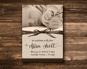 Rustic Baby Birth Announcement - DIGITAL FILE