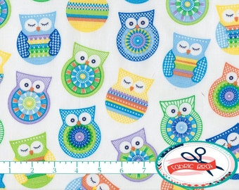 BLUE OWL Fabric by the Yard, Fat Quarter Crochet Owl Fabric Yellow & Blue Fabric 100% Cotton Fabric Quilting Fabric Apparel Fabric w3-11