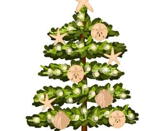 Beach Christmas Tree Clip Art  - holiday clip art, holiday graphic, tree with shells, beach christmas art