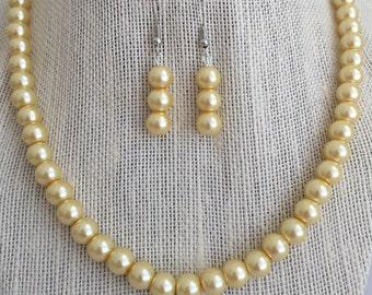 Yellow Bridal Pearl Necklace, Yellow Wedding Jewelry Set, Maid of Honor Jewelry Set, Yellow Bridesmaid Jewelry Gift Set