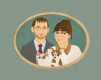 Custom portraits with pets. Personalized wedding gift. Family portrait with pet. Quirky wedding portrait.